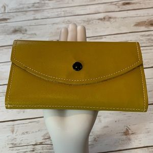 Vintage Yellow Suede Leather Envelope Wallet